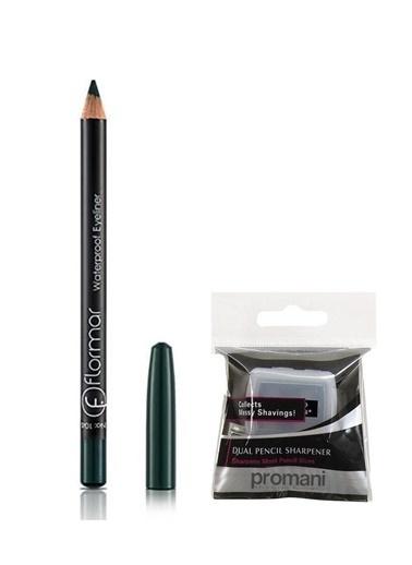 Flormar Flormar Waterproof Koyu Yeşil Eyeliner No:104+Promani 2 Delikli Kalemtıraş Renkli